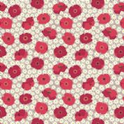Lewis & Irene Grandma's Garden - 5293 - Floral, Red Poppies & Daisies  - A197.2 - Cotton Fabric